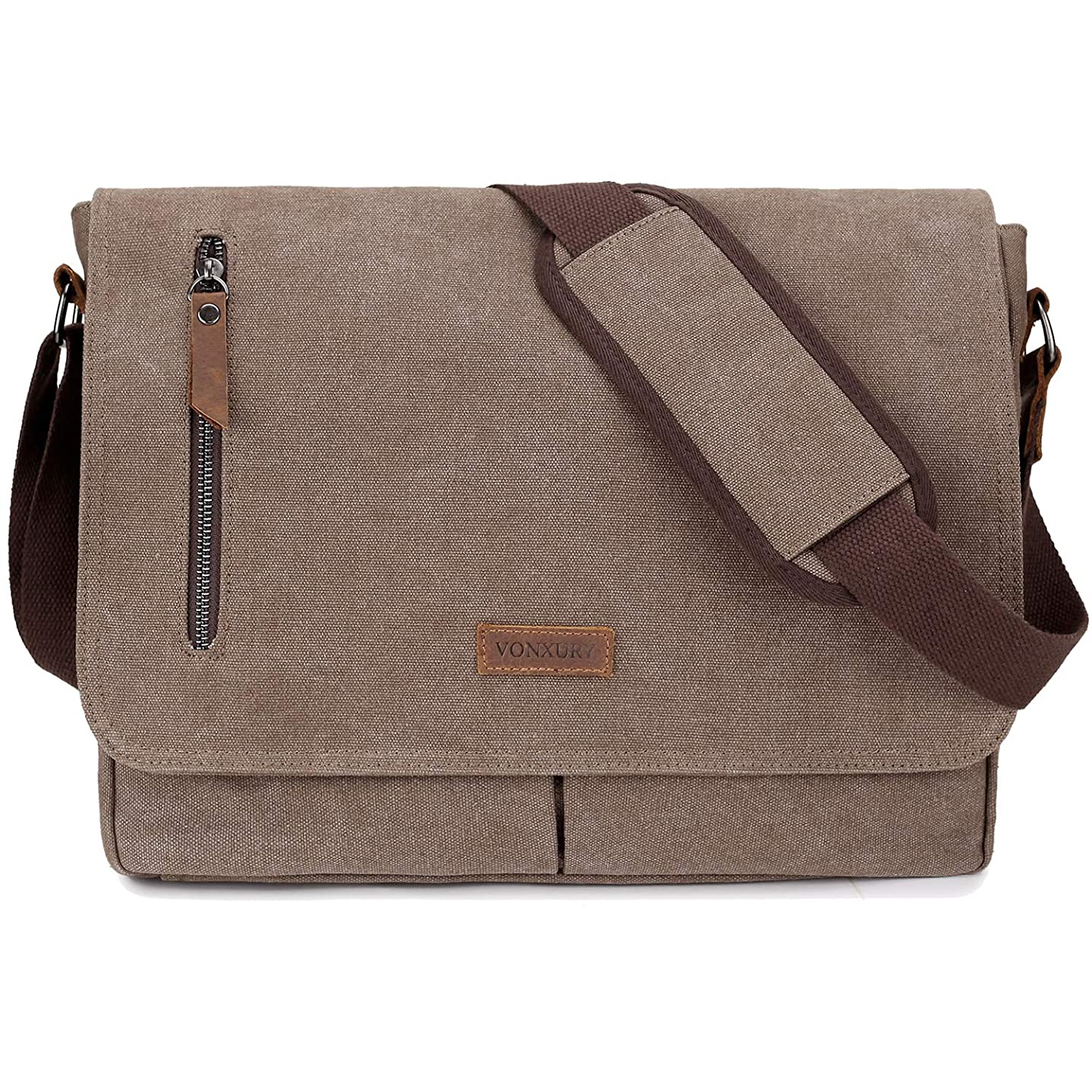 14 Inch Laptop Messenger Bag For Men And Women,Canvas Satchel Leather Shoulder Bag For Work School VONXURY