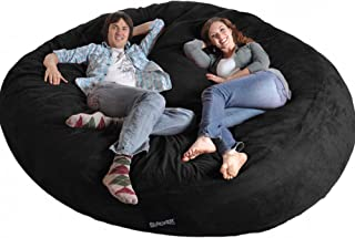 SLACKER sack 8' Round Black Biggest Foam Bean Bag Microfiber Cover like LoveSac XXL