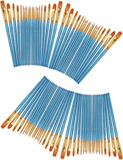 Professional Paints Brushes Set 8 Pack by heartybay, Nylon Hair Brush Sets Acrylic Blue Round Pointed Paint Bristle for Watercolor Oil Painting & Gouache Art, Perfect for Kids Beginner and Artist