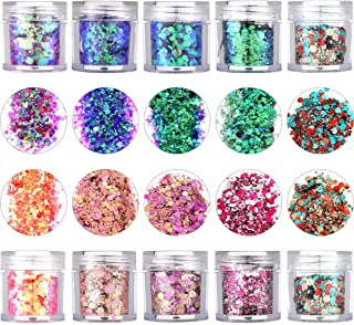 Onwon 10 Boxes Chunky Glitter Makeup Set. Colorful Mixed Cosmetic Glitters Flakes for Eye Shadow Body Nail Face Lips Hair Iridescent Flakes Cosmetic Paillette Sparkles Slime Supplies Powder Sequins