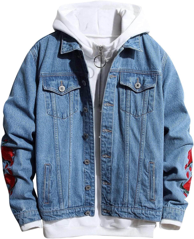 Huangse Mens Classic Ripped Denim Jacket Street Fashion Back Printed Jean Jacket Casual Trucker Jacket Coat