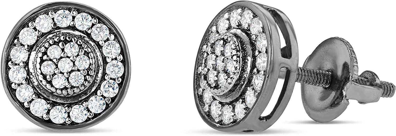 Men Women Iced Out 18k Gold Black Finish Lab Diamond CZ Screwback Stud Earings 7MM aretes para hombre - Mens Earrings, Screw Back, Men's Jewelry, Hip hop Earring