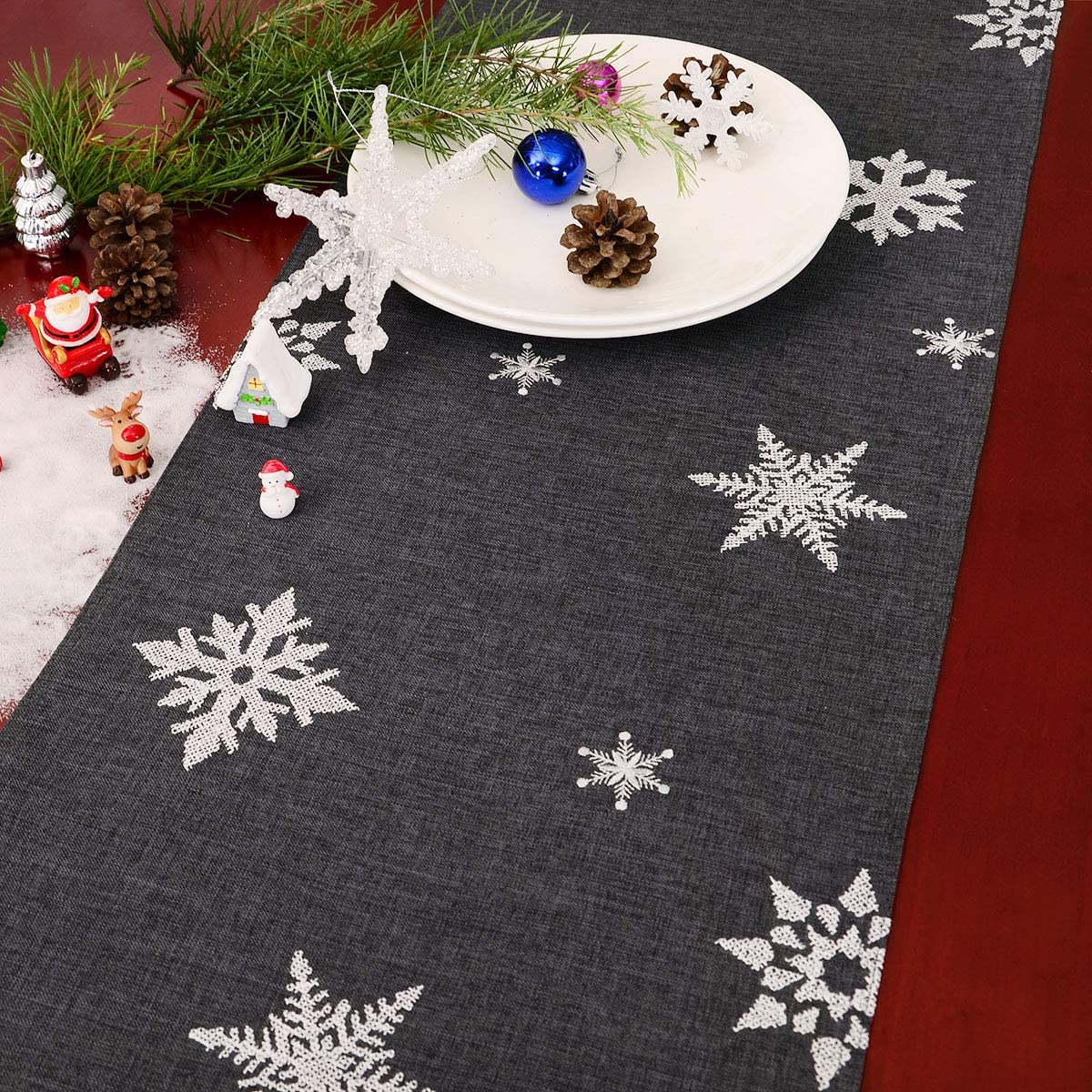 14 x 34 inches Grelucgo Dark Gray Cross-Stitching Snowflakes Table Runner for Christmas and Winter