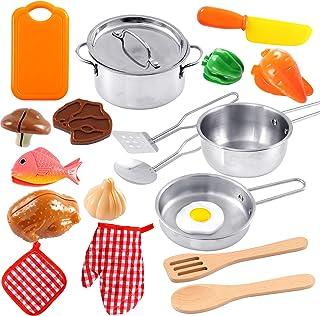 Toyssa Juguete Cocina Niños Utensilios Cocina Juguete con Olla de Acero Inoxidable, Cuchillo, Tabla de Cortar y Comida Juguetes Eeducativos Regalo Cumpleaños para Niños Niñas