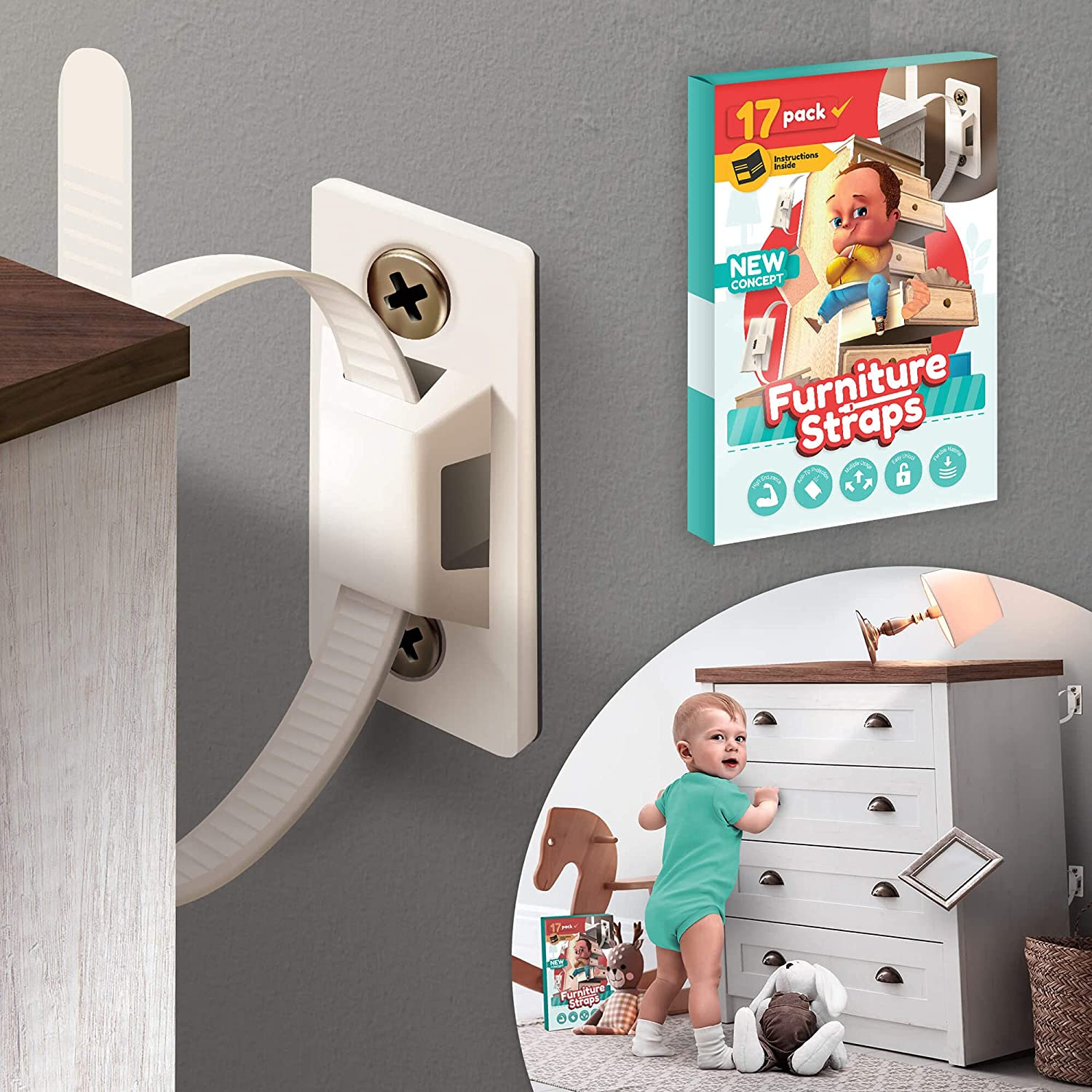 17 XXL-Pack Furniture Anchors for Wall – Furniture Anchors for Baby Proofing – Flexible Furniture Safety Straps - Secure Earthquake Resistant Anti Tip Kit – Dresser Wall Safety Anchor Bracket for Kids