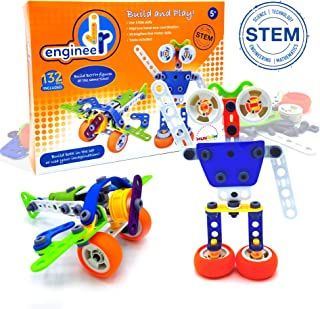 Jr. Engineer - Robot & Airplane | Junior Educational Stem Learning Construction Set for Boys & Girls 5+ Years | 2-in-1 132Piece Creative Engineer Set (Tools Included), Build Both Simultaneously!