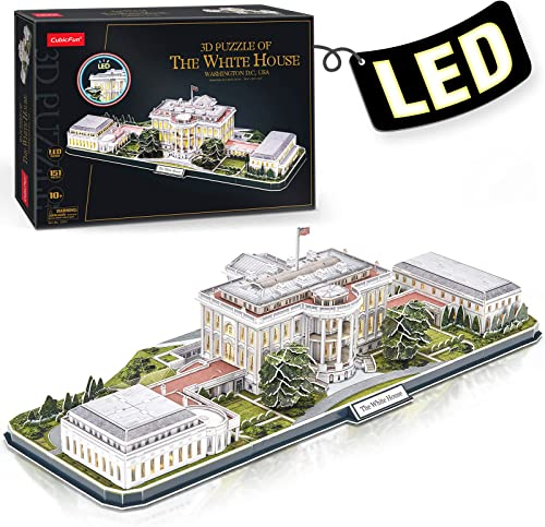 high quality CubicFun 3d Puzzles high quality for Adults LED Rotatable White House with wholesale Detailed Interior Model Kit, Lighting 3d Puzzle US Architecture Building Family Puzzle Desk Decor Birthday Gifts for Women Men, 151 Pieces outlet sale