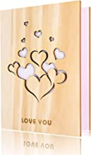 Handmade Walnut Wood Love Greeting Card with Unique Gift Card Box The Best Birthday, Valentine's Day Anniversary Gift Idea Card. (Love you 1)