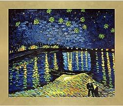 "La Pastiche Starry Night Over the Rhone by Vincent Van Gogh Oil Painting, 24"" x 28"", Semplice Specchio Frame"