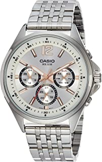 Casio Men's Silver Dial Stainless Steel Band Watch Mtp-E303D-7Avdf, Analog Display
