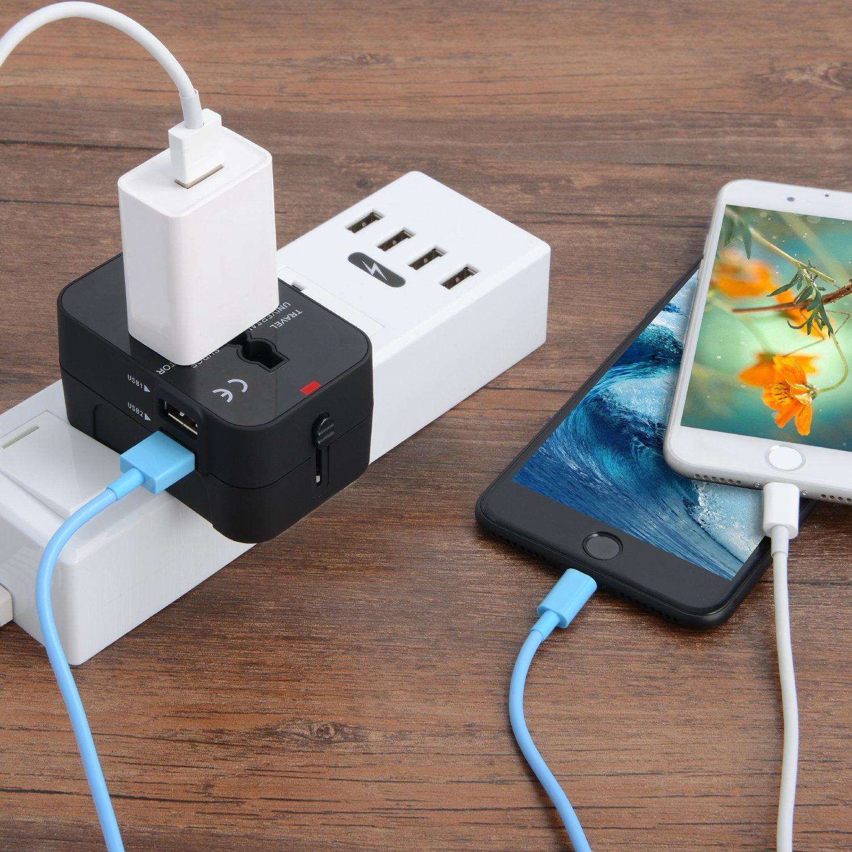 Adaptador Enchufe De Viaje Universal Enchufe Adaptador Internacional Con Dos Puertos USB Para Japón China Canadá USA EU UK AU Acerca De 150 Países Para Navidad (Negro): Amazon.es: Electrónica