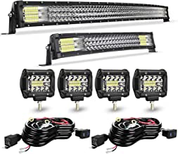 TURBO SII Led Light Bar Curved 42Inch Offroad Led Bar Triple Row+ 22Inch Curved Spot Flood Combo Light Bars + 4PCS 4