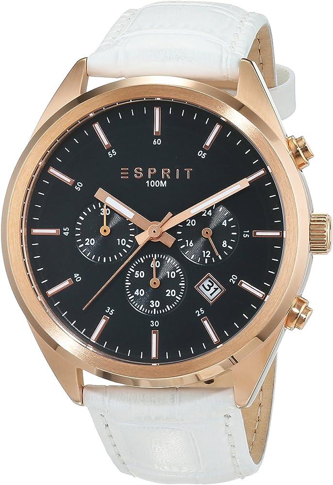 Esprit, orologio,cronografo per uomo, cinturino in pelle bianca e cassa in acciaio ES106261004