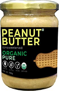 d alive Peanut Butter (Unsweetened) - 500g (Sugar-Free, Gluten-Free, Organic and Pure, Low Carb, High Protein, Ultra Low G...