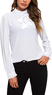 Womens Bow Tie Neck Long/Short Sleeve Blouse Office Work Chiffon Elegant Casual Shirt Tops