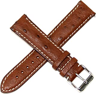 20MM Brown Genuine Ostrich Leather Skin Watch Strap with Silver Stainless Buckle fits 42mm Bellezza Watch