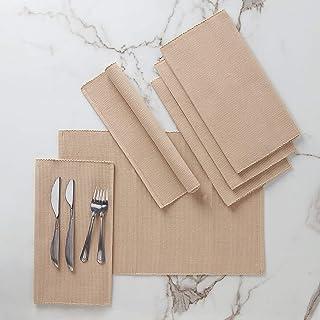 Encasa Homes zestaw stołów do jadalni (6-częściowy) z delikatnej prążkowanej bawełny – idealny rozmiar 48 x 33 cm, eleganc...