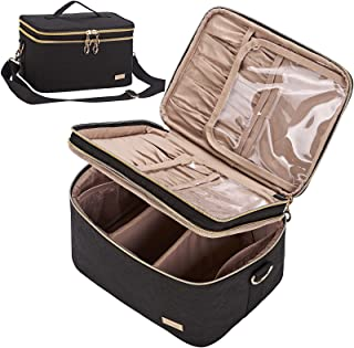 NISHEL Double Layer Travel Makeup Bag with Strap, Large Cosmetic Case Organizer Fits Bottles Vertically, Top Layer for Bru...