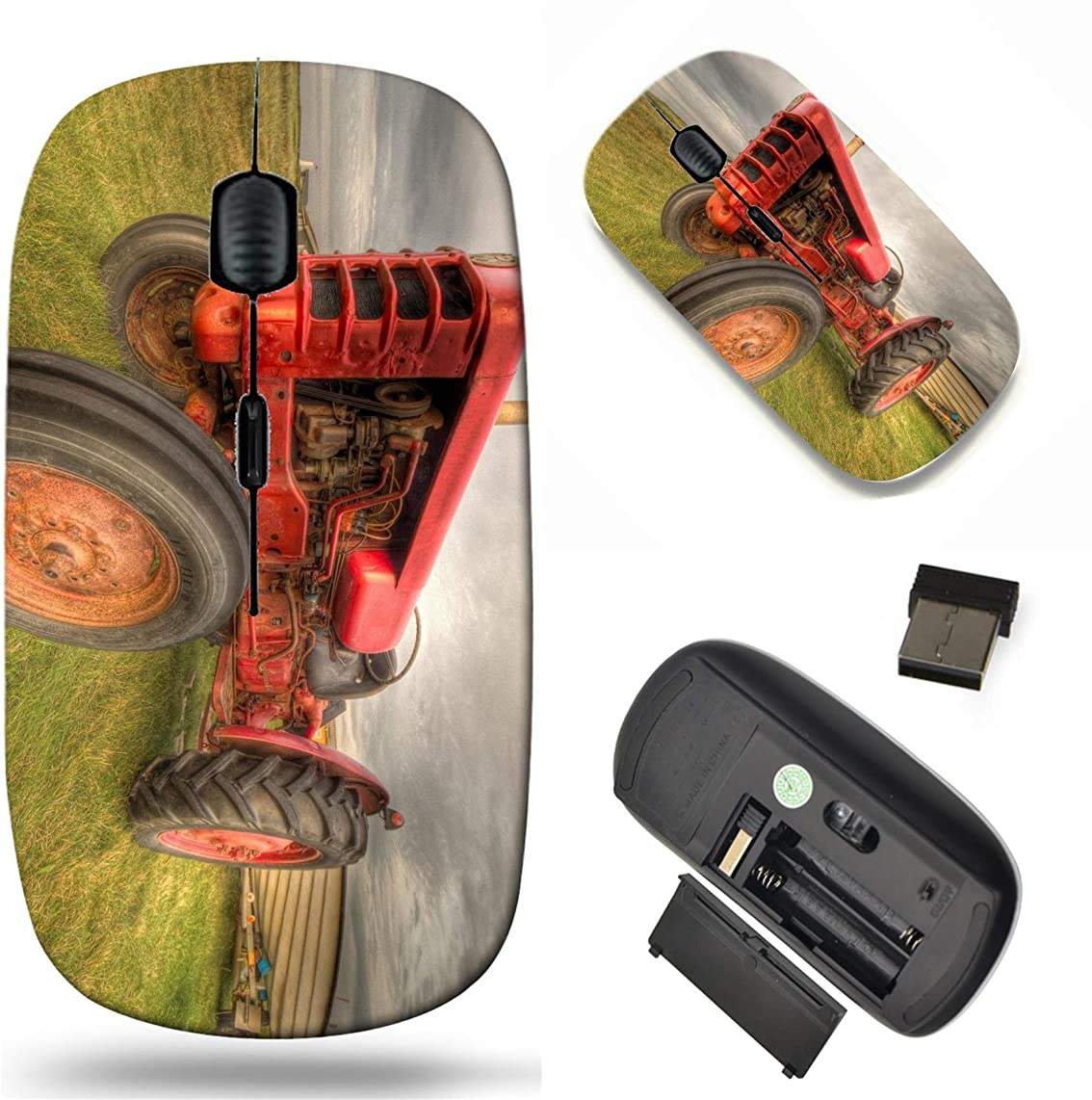 Wireless Mouse 2.4G Black Base Travel Wireless Mice with USB Receiver, Noiseless and Silent Click with 1000 DPI for Notebook pc Laptop Computer MacBook Image of Tractor Agriculture Farm Farming Rural
