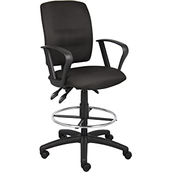 Boss Office Products Multi-Function Fabric Drafting Stool with Loop Arms in Black