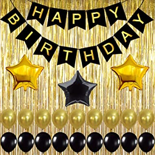Beauenty Black,Gold Balloons and Paper Pom Poms Party Supplies for Birthday Decoration With Pale Champagne Metallic Foil F...