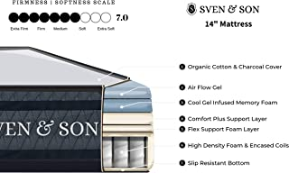 """Sven & Son Split-King Hybrid Mattress 14"""" Bamboo Charcoal and Luxury Cool Gel Memory Foam, Motion Isolating Springs, Certi-PUR Certified Non Toxic, Designed in USA"""