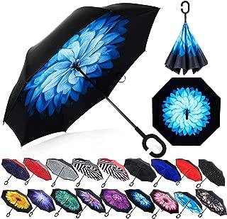 Zameka Double Layer Inverted Umbrellas Reverse Folding Umbrella Windproof UV Protection Big Straight Umbrella Inside Out Upside Down Car Rain Outdoor C-Shaped Handle