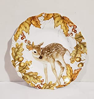 New Pier 1 Autumn Fall Mazey The Baby Deer Butterfly on Head Decorative Plate 8.5