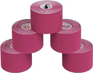 ALPIDEX 5 Rollos Cinta Kinesiología Tape 5 m x 5 cm Cinta Muscular E- Book Ejemplos Aplicación, Color:fucsia