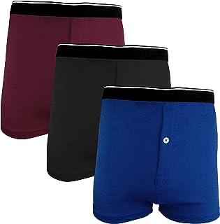 Fast way Pack of 3 Soft Cotton Boxer Briefs Mens Underwear For Men 1 Button Open Fly Underwear