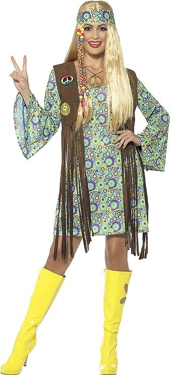60s Costumes: Hippie, Go Go Dancer, Flower Child, Mod Style Smiffys Womens 60s Hippie Chick Costume with Dress  AT vintagedancer.com