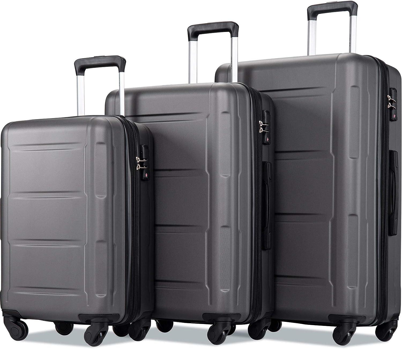 Merax Luggage Set Expandable 3 Piece with Tulsa Mall Lock Sets TSA Super-cheap Lightwe
