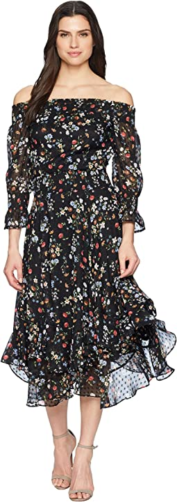 Floral Off the Shoulder Midi Shift Dress
