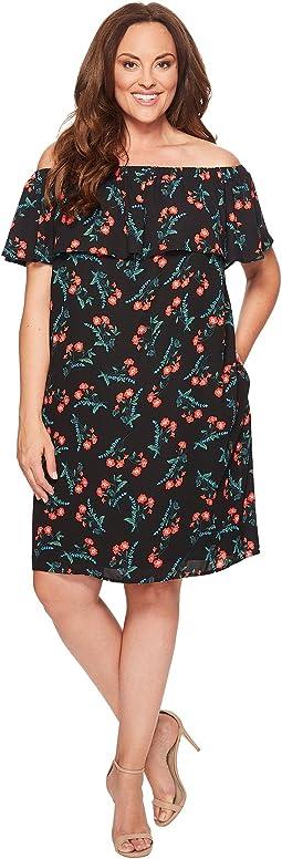 Plus Size Ruffle Off Shoulder Tropical Spritz Dress
