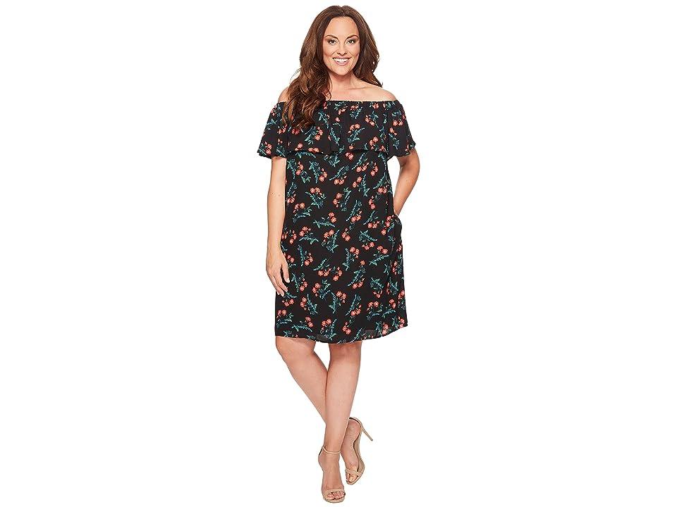 Vince Camuto Specialty Size Plus Size Ruffle Off Shoulder Tropical Spritz Dress (Rich Black) Women