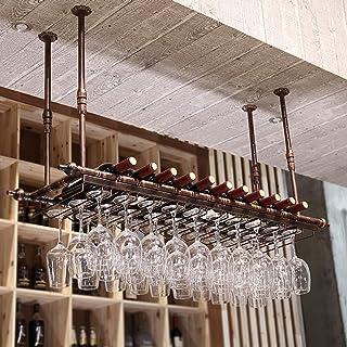 SUYUHENG Plafond Casier Vin, Support Verre Fixé Mur, Étend Support Verres Pied Contient Tout Type Verres Vin Ou Bière et F...