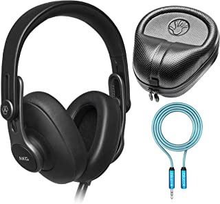 AKG K371 Closed-Back Studio Headphones for Critical Listening, Podcast and Music Production Bundle with Blucoil 6-FT Headphone Extension Cable (3.5mm), and Full-Sized HardBody Pro Headphone Case