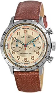 [SONNE]ゾンネ 腕時計 パイロットクロノグラフタイプI アイボリー文字盤 HI003IV-BR メンズ