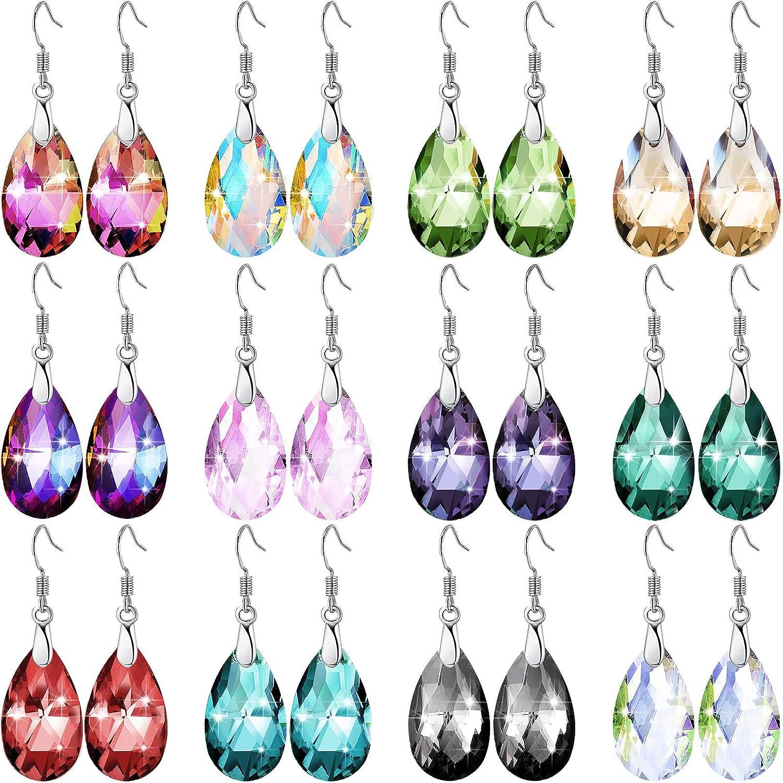 12 Pairs Multi-color Dangle Earrings Set Crystal Dangle Drop Earrings Rainbow Crystal Earrings for Women