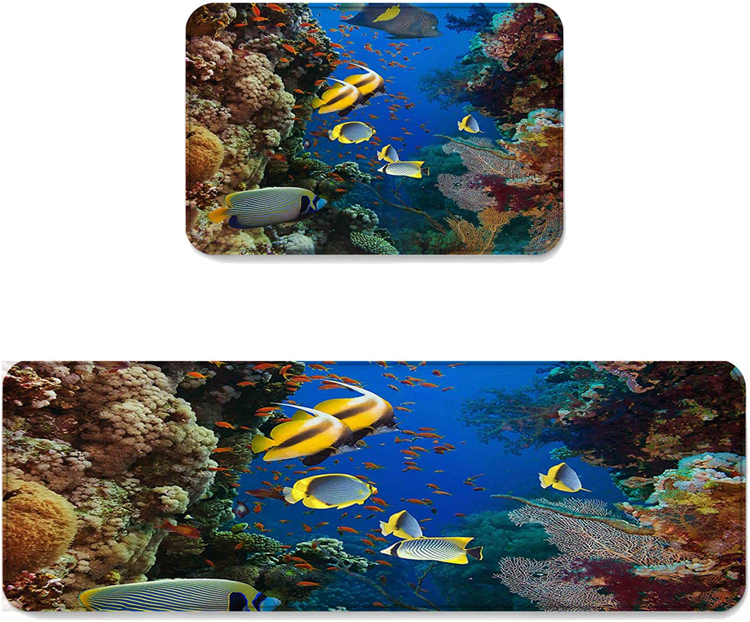 Fantasy Star Kitchen Rug Sets 2 Piece Floor Mats Non-Slip Rubber Backing Area Rugs Coral Reef Tropical Fish Doormat Washable Carpet Inside Door Mat Pad Sets (19.7  x 31.5 +19.7  x 47.2 )