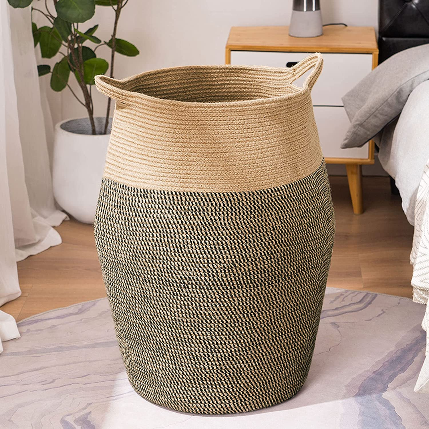 YOUDENOVA Tall Laundry Hamper Free shipping on posting reviews Woven Jute Max 85% OFF Laundr Rope Large Extra