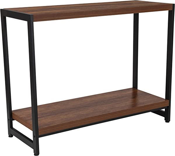 My Friendly Office MFO Benjamin Collection Rustic Wood Grain Finish Console Table With Black Metal Frame