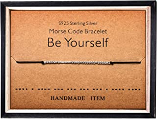 Morse Code Bracelet 925 Sterling Silver Beads on Silk Cord Secret Message Be Yourself bracelet Gift Jewelry for her