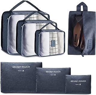 مجموعة من 7 مكعبات للتعبئة ومنظمات للسفر ومنظم الأمتعة للسفر مع حقيبة غسيل وحقيبة أحذية من يونغوا