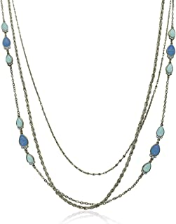 Layered Multi-Strand Station Necklace with Stones