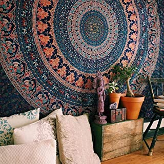 GLOBUS CHOICE INC. Tapestry Mandala Twin Indian Elephant Peacock Wall Haning Hippie Gypsy Tapestries Bohemain Psychedelic Cotton Multi Color Beach Sheet Bedspread Bed Cover