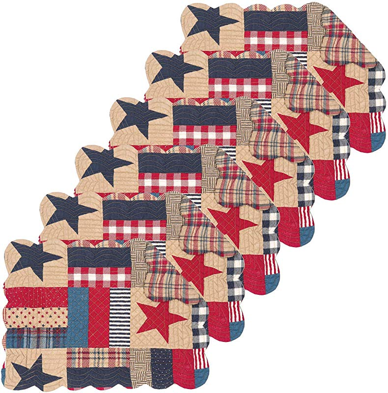 C F Home Bennington Rectangular 4th Of July Memorial Day Labor Day Americana Liberty Cotton Quilted Reversible Set Of 6 Rectangular Placemat Set Of 6 Blue