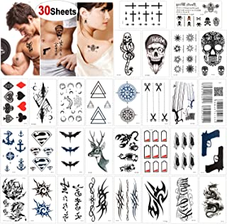 Konsait 30 Sheets Temporary Tattoos for Men Women Adult Fake Tattoo Body Art Stickers Waterproof Black Tiny Temporary Tattoo for Hand Neck Wrist Arm Shoulder Chest Back Legs, Dragon Anchor Lion Skull