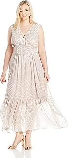 Women's Plus Size V-Neck Chiffon Printed Maxi Dress