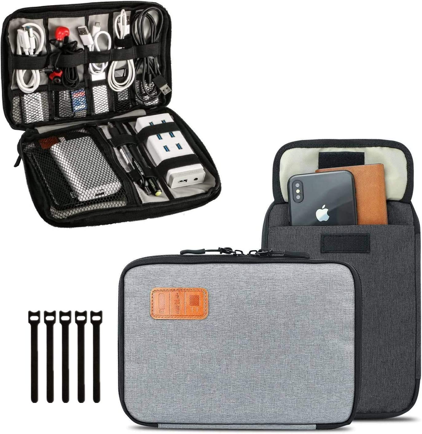 Travel Cable Organizer Bag, T TERSELY Travel Gadget Cables Electronics Accessories Organizer Bag,Portable Tech Gear Phone Accessories Carrying Storage Case Bag for Headphone Earphone USB (Grey)